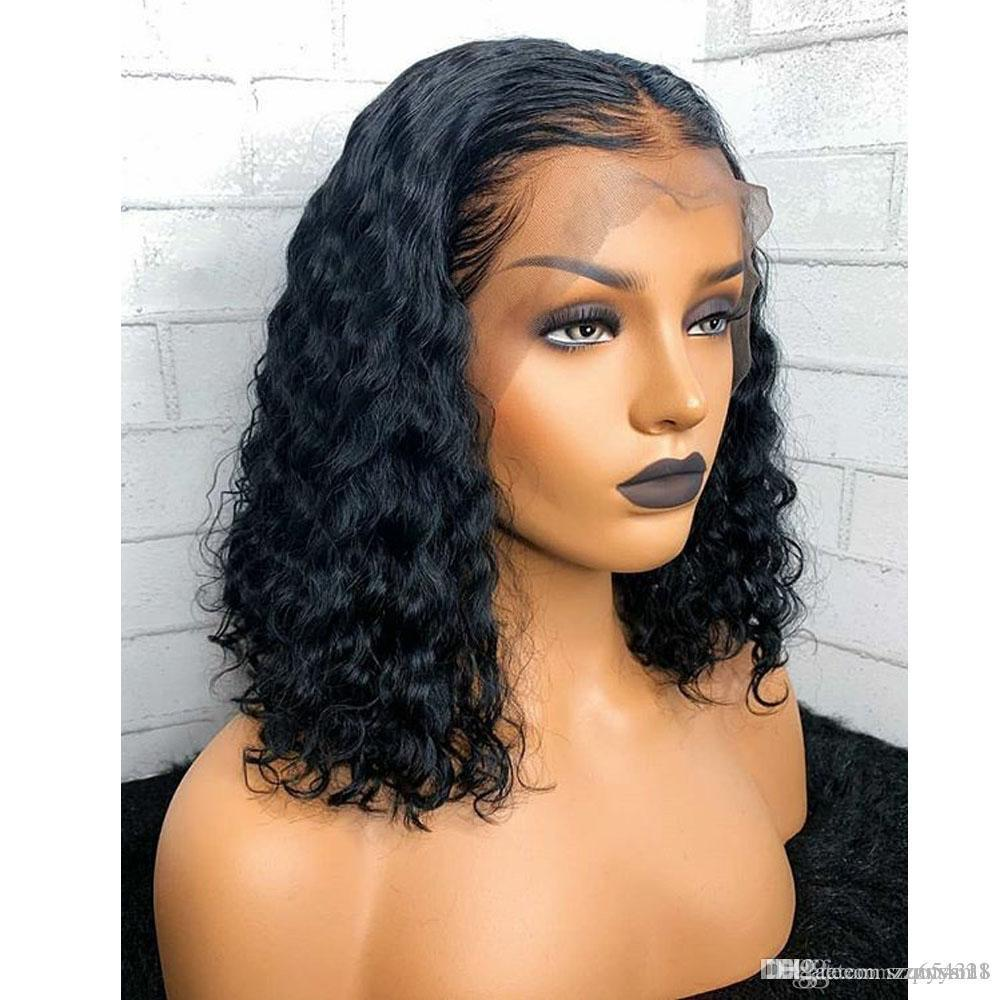 Curly Bob Wig Short Human Hair Bob Wigs For Women Natural Black Lace Frontal Closure Wigs 13x6 Deep Part Short Lace Wig Remy