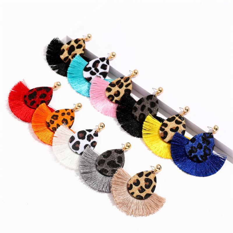 2020 Les femmes Tassel Boucles d'oreilles personnalité léopard Fan Dangle boucle d'oreille Bijoux Lady déclaration fille Boucles d'oreilles Accessoires de mode