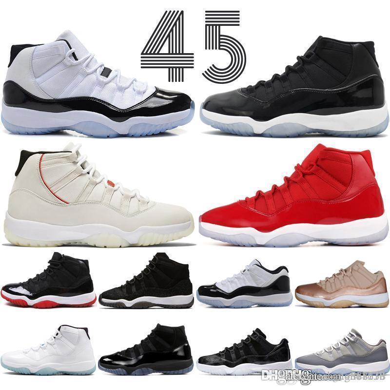Concord Hohe 45 11 s Platin Kappe und Kleid Männer Basketball Schuhe Gym Red Bred Barons Raum 11 Männer Sport sneaker designer Trainer