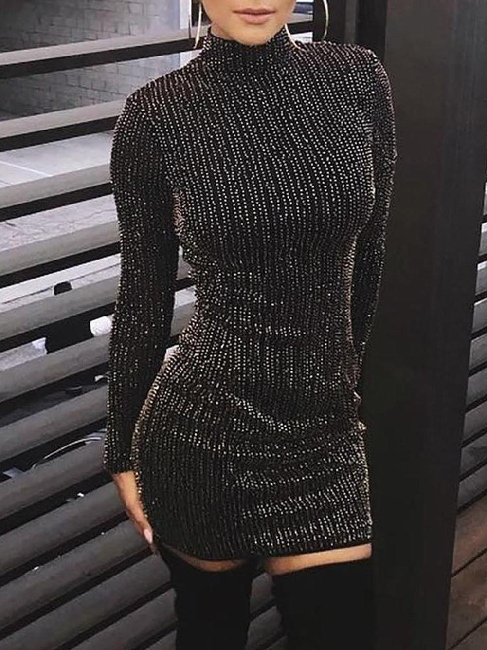 Hot femmes pailletée manches longues Tassel bodycon Party Club Skinny Sexy Casual col roulé Club robe