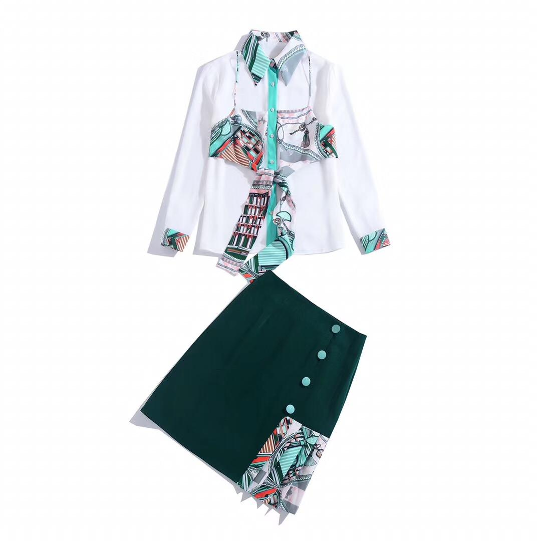 Весна 2020 для европейских и американских женщин носить Лоскутная юбка печати с длинными рукавами печатных рубашки моды костюмы