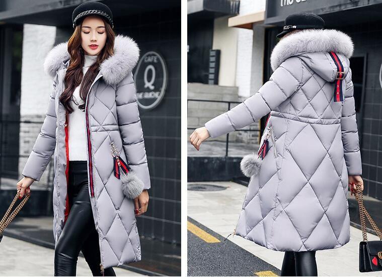 2018 inverno Big casaco de pele espessa mulheres parka costura casaco longo inverno emagrecer feminina de algodão para baixo Parka para baixo mulheres jaqueta