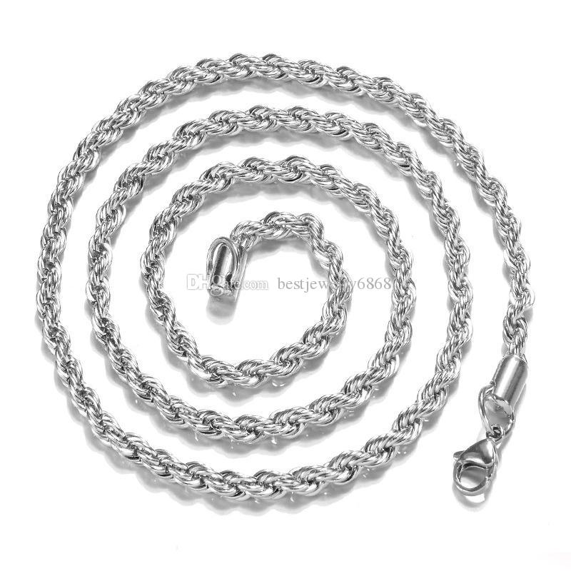 Top quality 3MM 925 sterling silver twisted Rope chains 16-30inches necklaced For women men Fashion DIY Jewelry in Bulk
