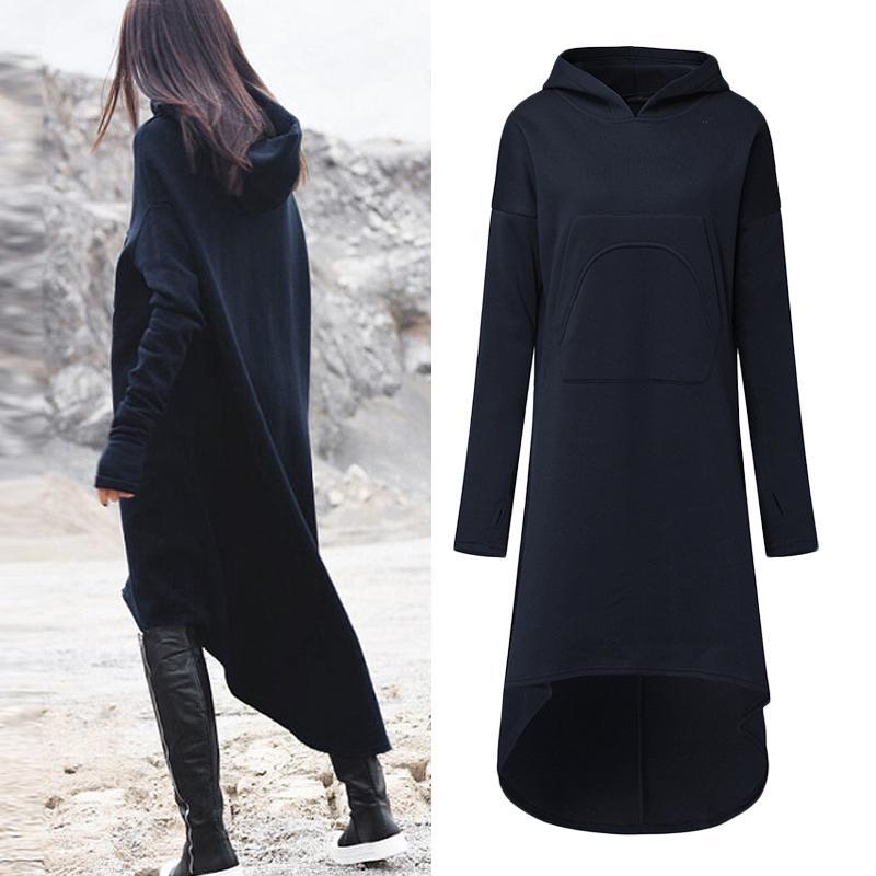 2018 Plus Size ZANZEA Winter Solid Long Sweatshirt Dress Women Casual Hooded Long Sleeve Pockets Fleece Loose Pullover Vestido