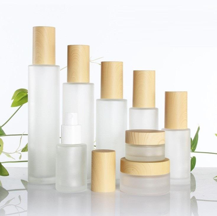 30ml/40ml/60ml/80ml/100ml Frosted Glass Cosmetic Cream Jar Bottle Face Cream Pot Lotion Pump Bottle with Plastic Imitation Bamboo Lids
