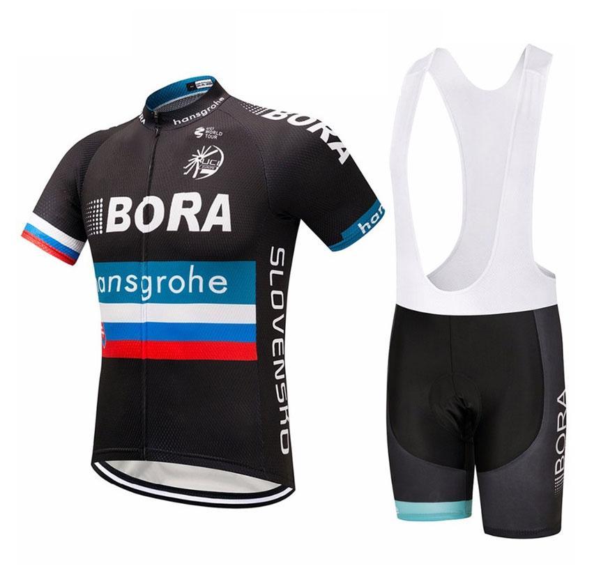 2019 Bora Maillot cyclisme Maillot Ciclismo à manches courtes et une bavette Cuissards du vélo Kits Bracelet BICICLETAS O19121720