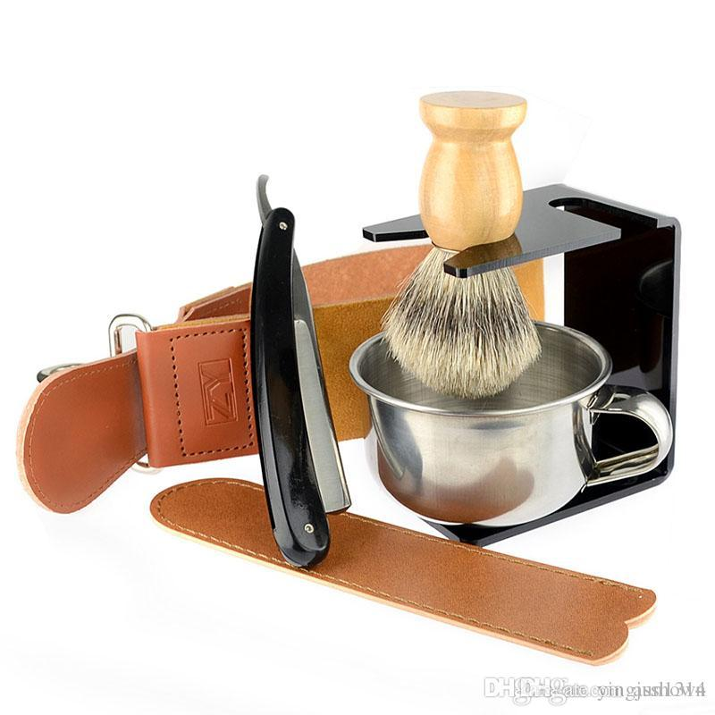 Straight Razor Gold Dollar Best Badger Shaving Brush Soap Bowl Barber Leather Sharpening Strop Strap Men Shave Beard Set
