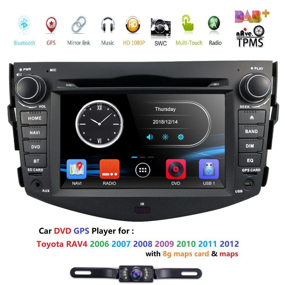 7 Inch 2 Din car dvd player GPS Navigation for Toyota RAV4 2006-2012 stereo Bluetooth SWC USB SD BT DVR Free Camera map card