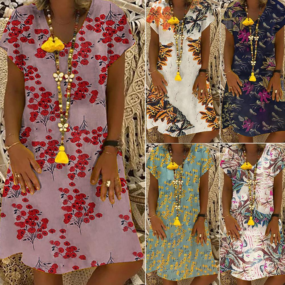 Летнее платье Женщины Sexy Глубокий V-образным вырезом печати цветка платья богемный стиль Сыпучие Повседневный Мини-Бич платье New Plus Size