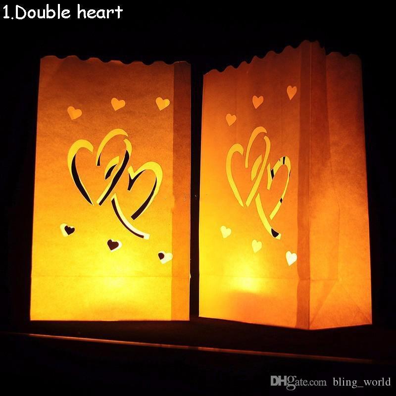 Decoración de Navidad Festival de la luz del té del corazón de la boda sostenedor del papel de feliz cumpleaños de la linterna de la vela bolsa Inicio partido romántico Suministros YSY463