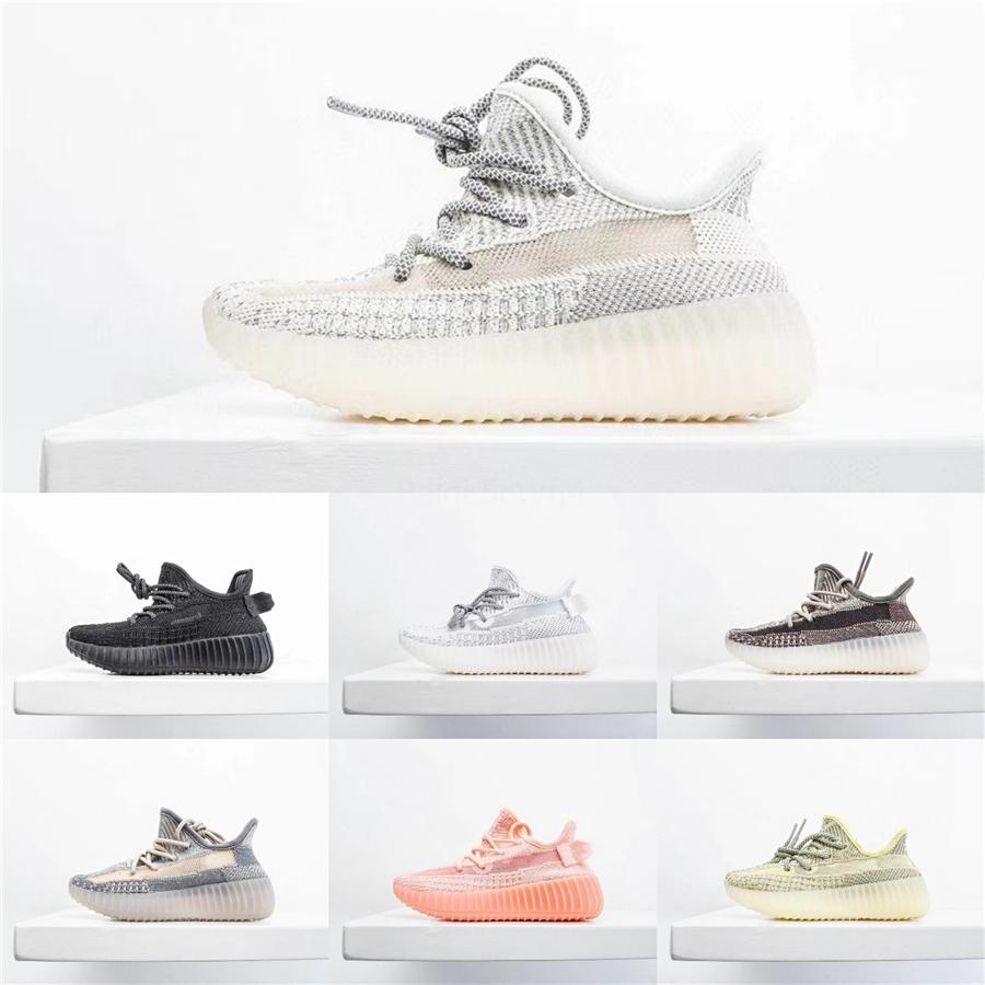 Kanye West 35O V2 Yecheil niños de los zapatos corrientes para el tamaño de los zapatos de las zapatillas de deporte de los muchachos de las muchachas de la escoria reflectante lino Desert Sage estático Glow Babys 26-3 # 723