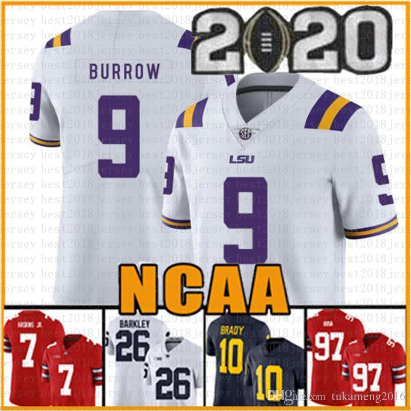 LSU Tigers Jersey 9 Burrow Clemson Joe 16 Trevor Lawrence 9 Travis Etienne Jr. NCAA American football Jerseys tom Brady University