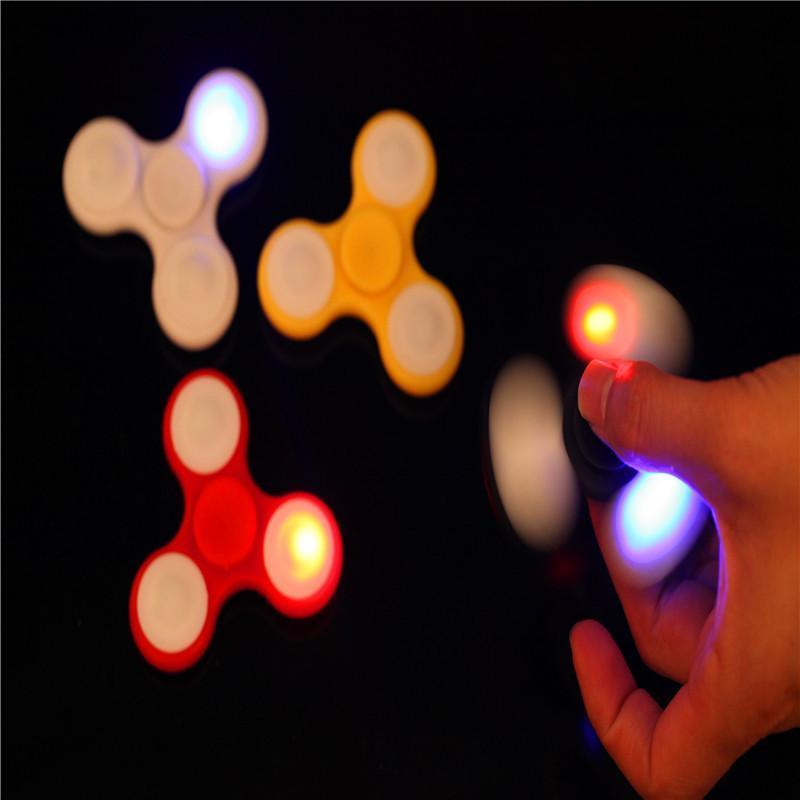 US explosion decompression fingertip gyro LED flash light fingertip gyro colorful flash finger gyro 20 up