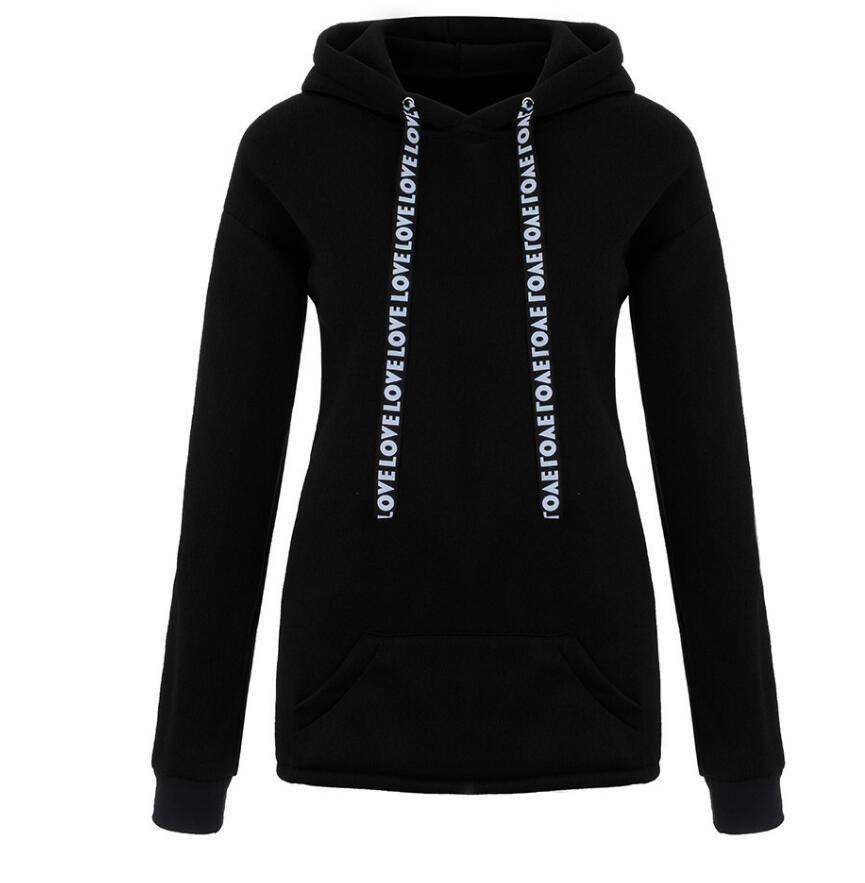 2020 HOT SELL femmes Sweat-shirts et Hoodies Oversize Noir Rose Amour Casual Streetwear filles capuche manches longues Survêtement