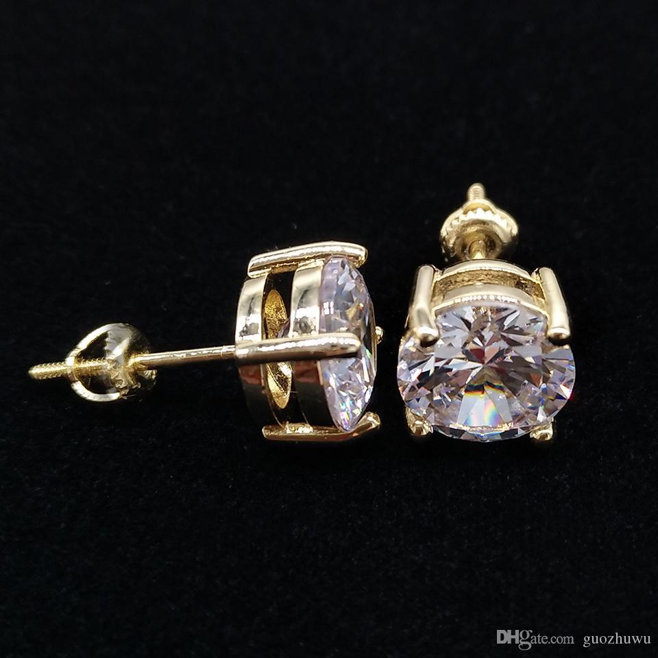 18K Gold Hiphop Single CZ Zircon Round Stud Earrings 0.4 0.6 0.8 cm for Men Women and Girls Gifts Diamond Earrings Studs Rock Rapper Jewelry