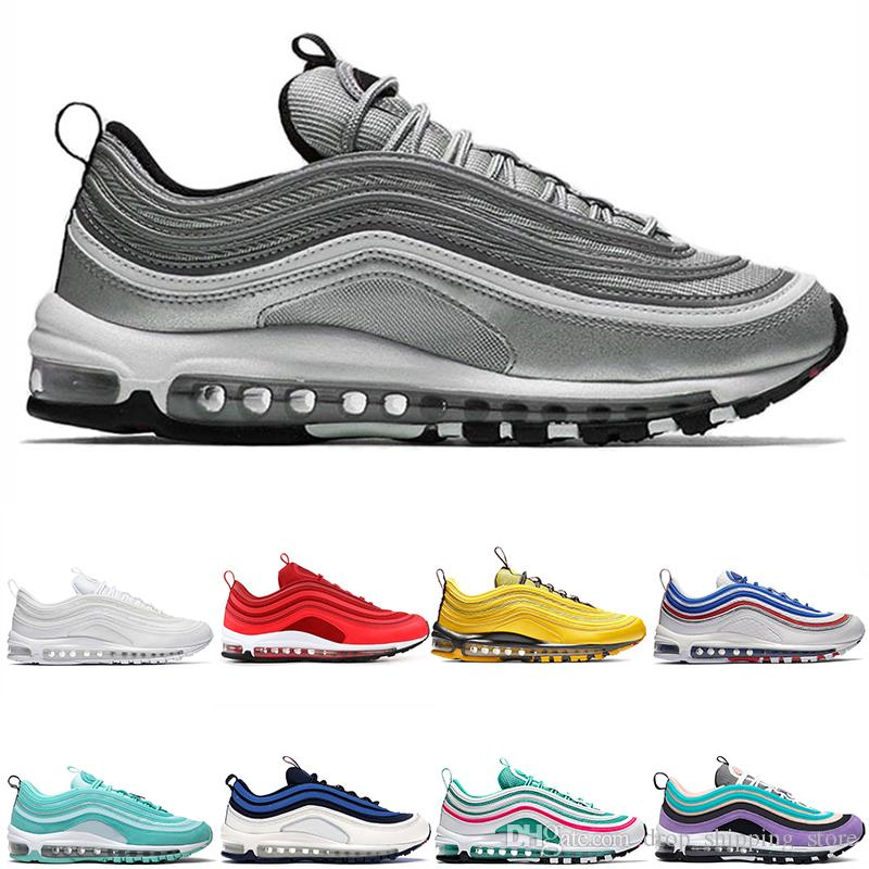 Hot sale Running shoes 97 97s designer shoes with box Men Women black white mens Authentic Quality 97 Sports Sneakers free shipping