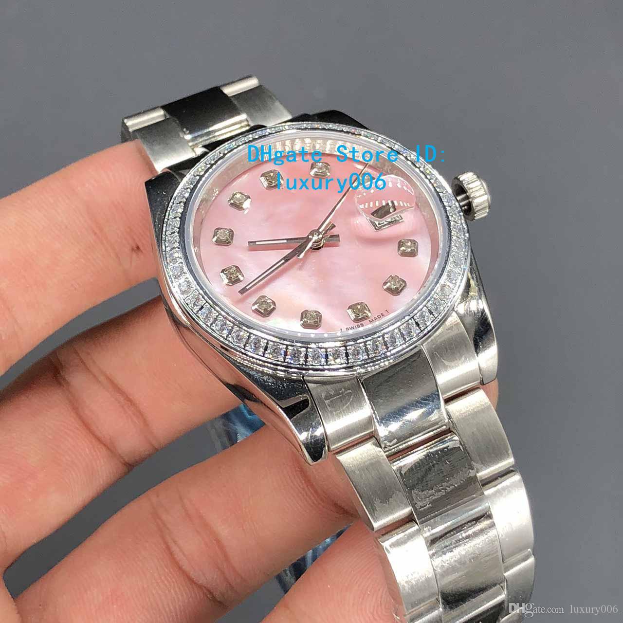 Relógios Cartier Diamante Mark Shell Rosa Dial 36 milímetros O melhor presente Mulheres inoxidável relógios de pulso Ladies Namorados automática
