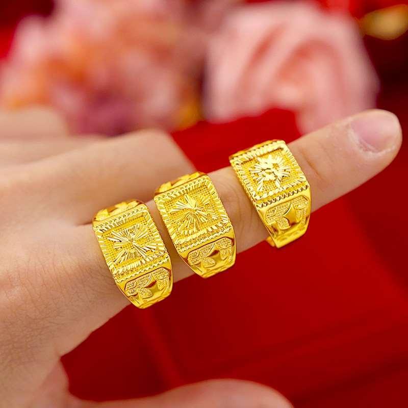 Boutique tailandesa dos homens de ouro não se desvanece moda carro retro flor Fufu anel masculino aberto 999 anel
