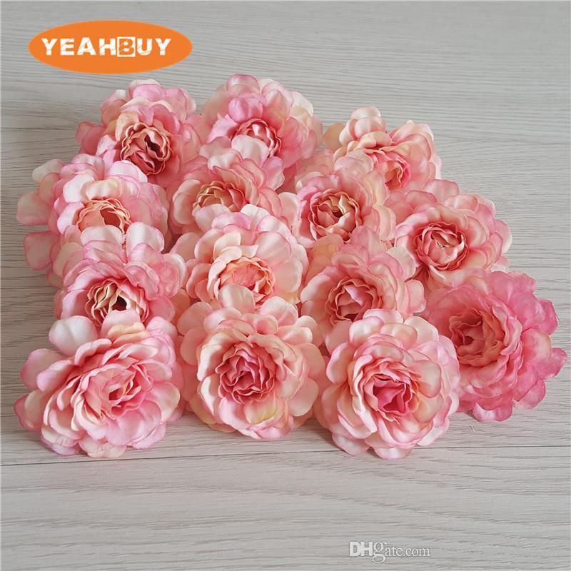 5см 200шт Малый искусственный азалия роза пион цветок голова поделки rhododendro свадебные цветы стены арки венок гирлянда домашнего декора цветочные реквизита