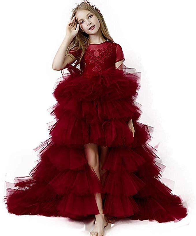 Superbe style Haut Bas filles Pageant Robes dentelle robe de demoiselle pour le mariage Puffy Tulle Robes enfants Communion