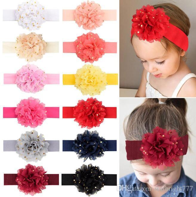 12 couleurs INS européens et les couleurs de bonbons bébé américain bébé stéréo serre-tête en mousseline de soie Design Fleurs fille arcs cheveux élégants accessoires