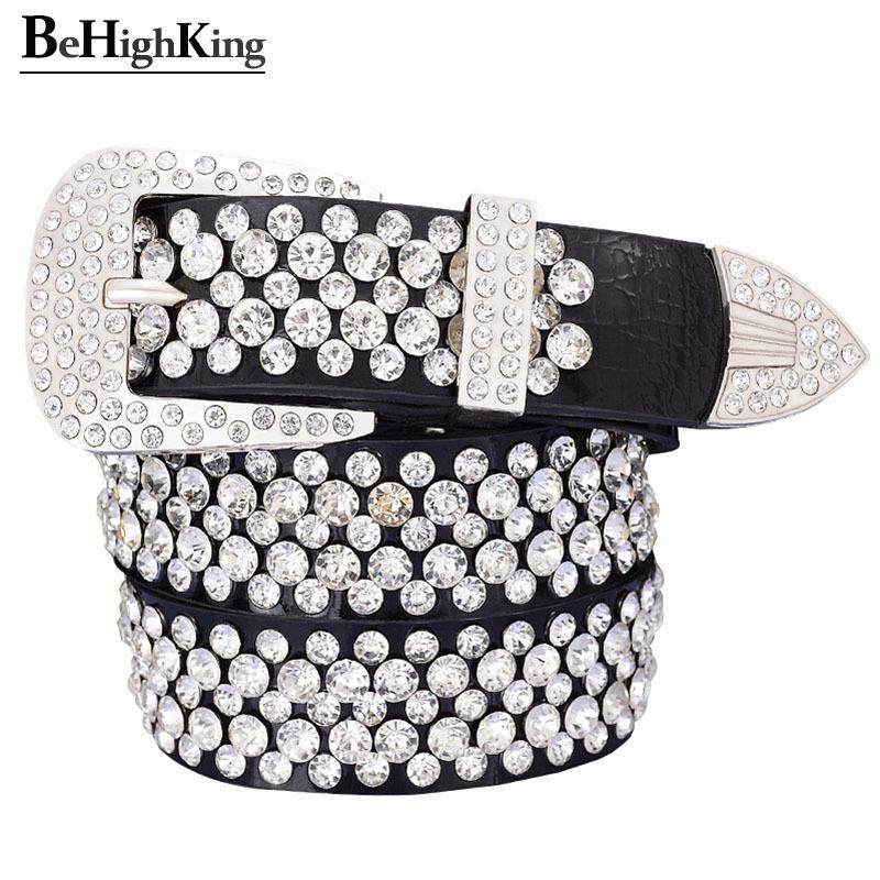 La moda de lujo de cuero genuino brillante cinturones de diamantes de imitación para las mujeres correa de Calidad femenina clásica cinta de diamante desgaste suave anchura de 3,3 Y191218