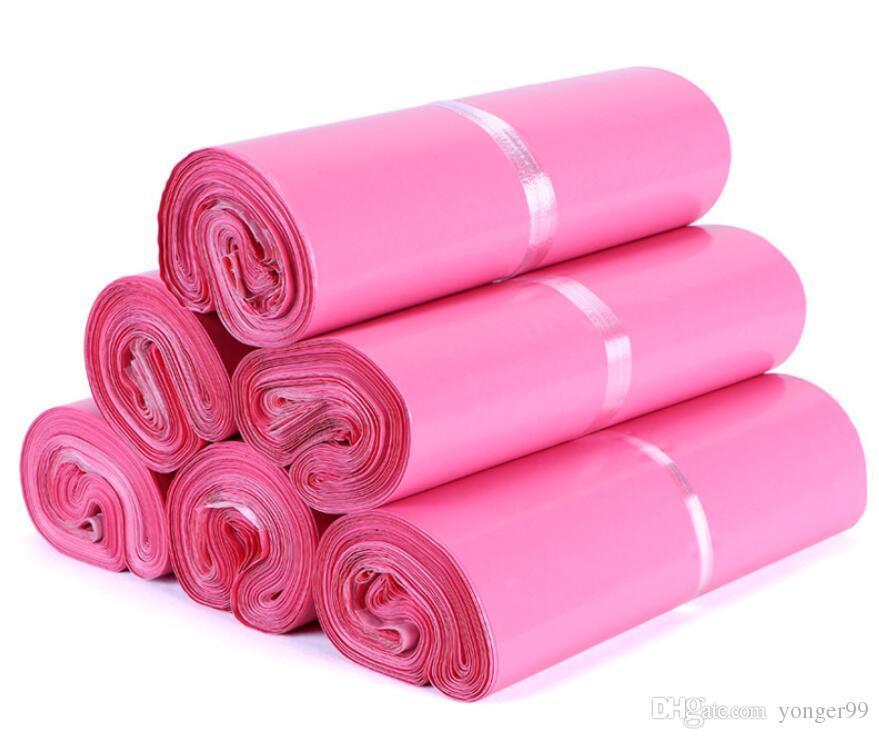 100шт / серия Pink Poly Mailer 17 * 30см Экспресс сумка почта мешки Конверт / Самоклеющиеся печать Пластиковые пакеты мешочке Свободный корабль