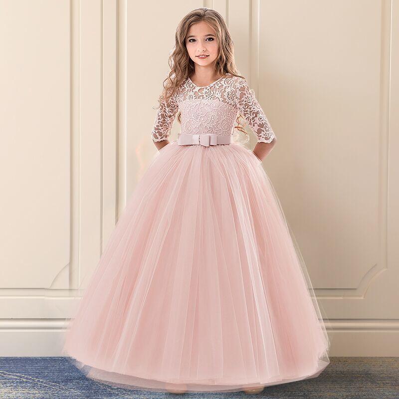 Filles mariage Tulle Dentelle Girl Infantil Fancy Automne Princesse Events Costume Kids Party Cérémonie Vêtements pour enfants Rose 14Y