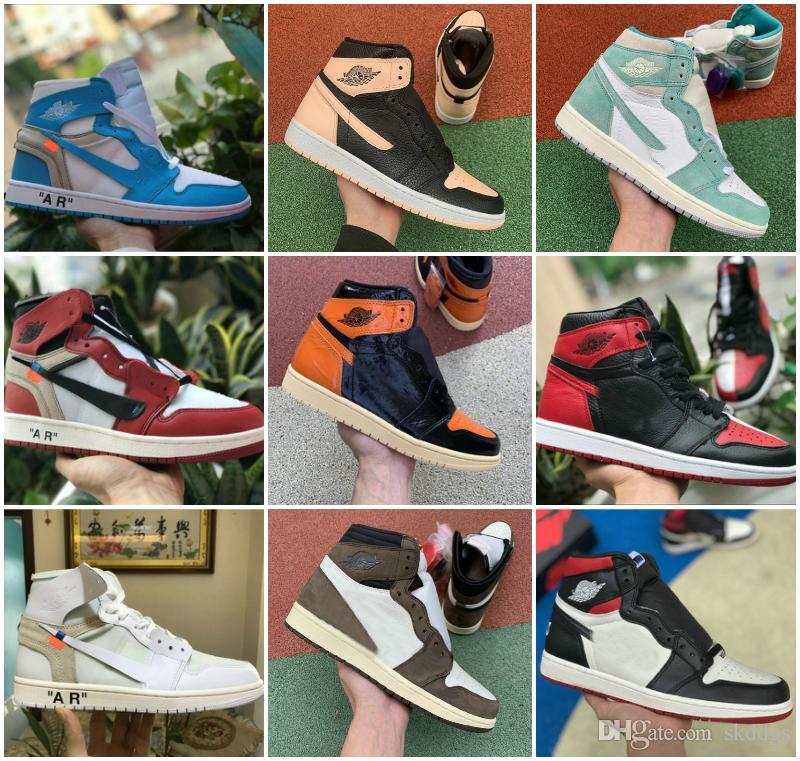 2020 nuevo Alto OG 1 MID X Travis Scotts los zapatos de baloncesto turbo verde Historia de Origen Gs prohibidos NRG X Unión Retroes 1s UNC Blanco Azul altos zapatos