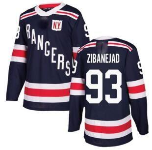 New York Rangers da uomo # 93 Zibanejad Blu Navy 2018 Maglia classica invernale cucita, UOMO 36 ZUCCARELLO 30 LUNDQVIST 27 MCDONAGH Maglie hockey