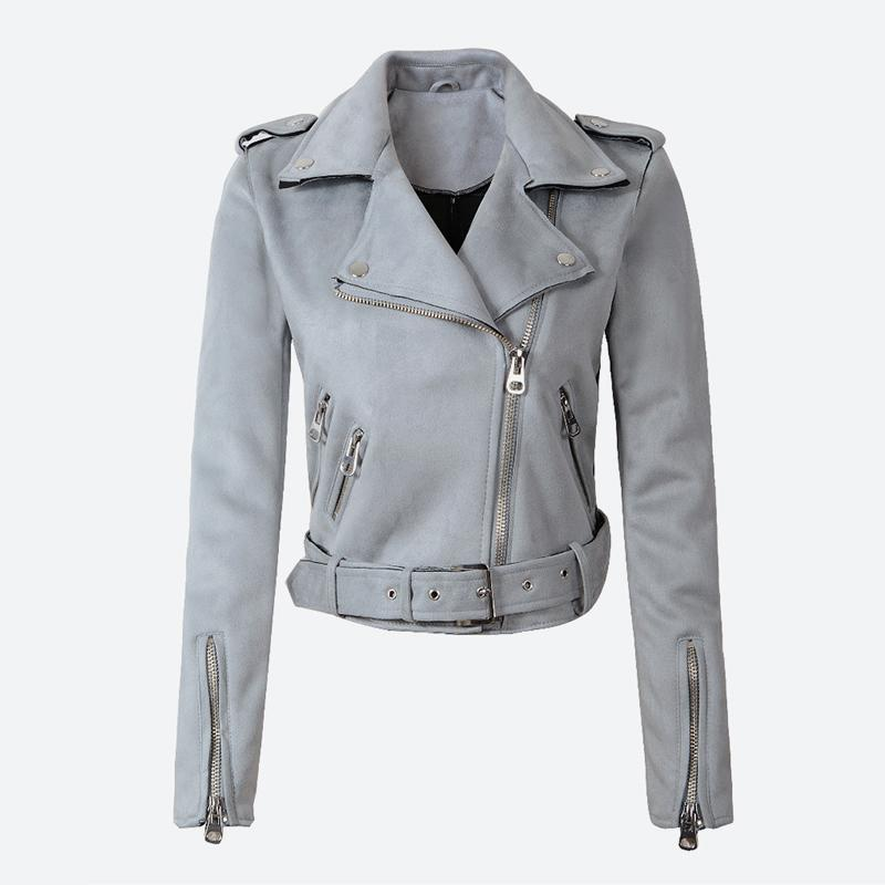 2019 Women's Faux PU Leather Spring Suede Short Jacket Multy Zipper Motorcycle Coat Womens 2019 Autumn Dropshipping Biker Jackets wholesale