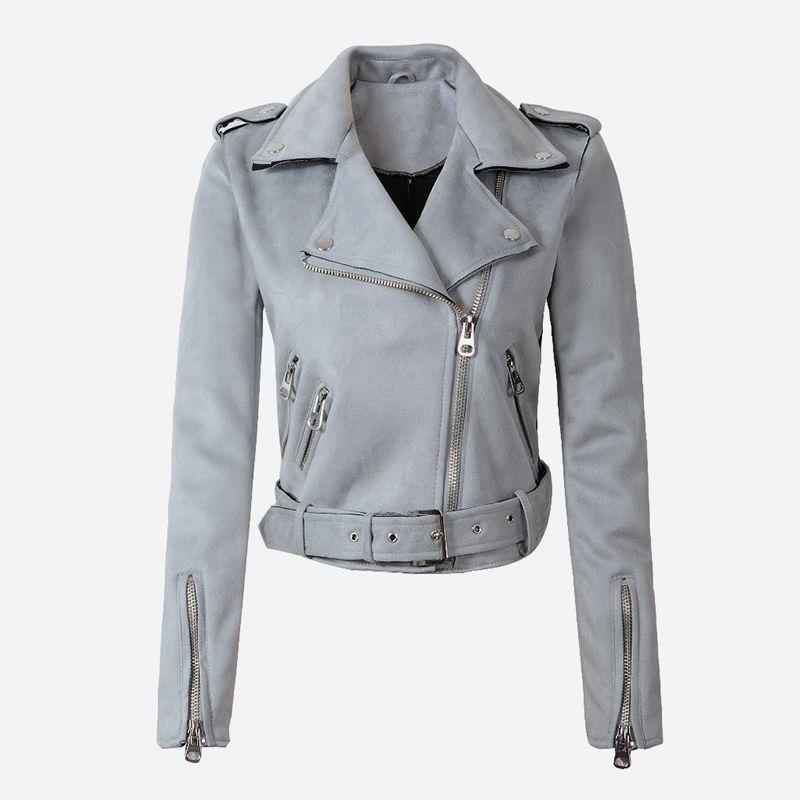 2019 femmes Faux PU cuir printemps en daim Veste courte Multy Zipper Manteau de moto Womens 2019 Automne Dropshipping Biker Vestes gros