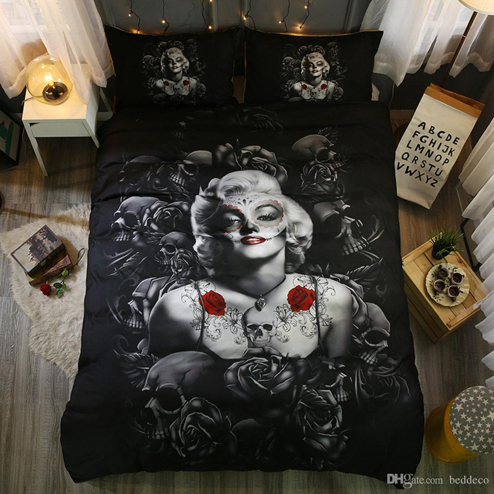 Marilyn Monroe Bedding Set King Size Sexy Mysterious Black Duvet Cover Queen Twin Full Double Single Bed Cover With Pillowcase Designer Duvet Covers Kid Bedding From Beddeco 13 07 Dhgate Com