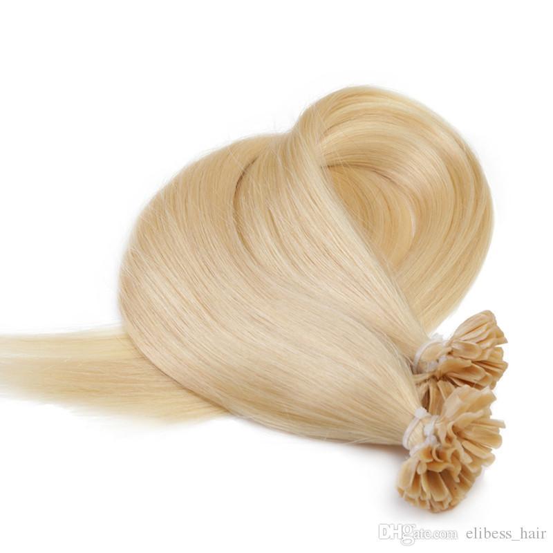 Niveau 7A - Pointe Kératine INDIEN remy humains Extensions de cheveux 100 g / paquet / s 1 g 200s / lot couleur # 613 extensions de cheveux de pointe U excrétion Tanglefree libre