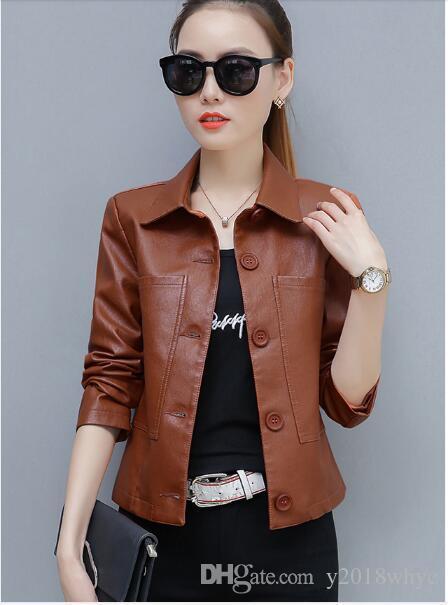 Giacca da donna in pelle coreana delle nuove donne della primavera autunno Giacca da donna Cappotto corto