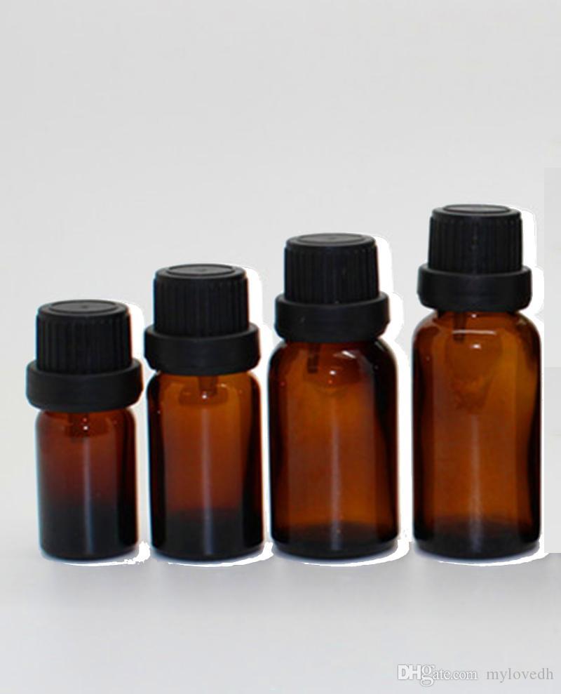 5ml 10ml 15ml 20ml Ätherisches Öl-Flasche Minibernstein- Glasprobe mit schwarzen Kappen Diy Supplies Werkzeug-Zubehör Parfüm Aromatherapie