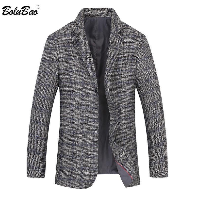BOLUBAO Marca Men Blazer 2020 do terno dos homens de Moda Outono Versão Coreana clássico Retro Malha Negócios Blazers Masculino T200502