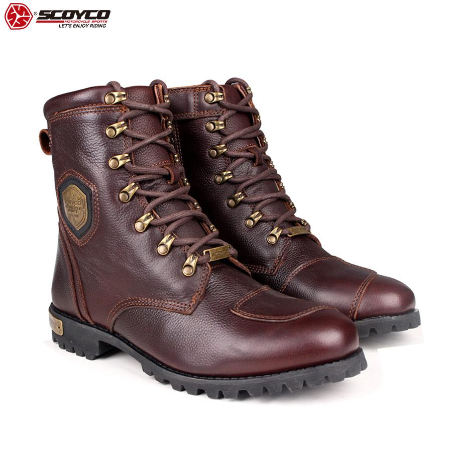 SCOYCO 2019 Genuine Leather Brown Motorcycle Boots Shockproof Portable Protective Vintage Wearproof Driving Martin Boots MT019