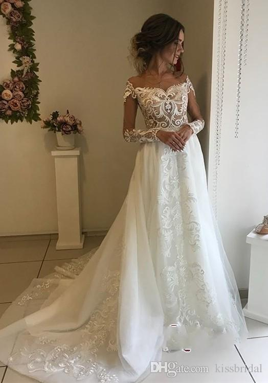 Discount Long Sleeve Lace Wedding Dresses A Line Illusion Scalloped Neckline Applique Tulle Bridal Gowns With Open Back Vintage Formal Dress All