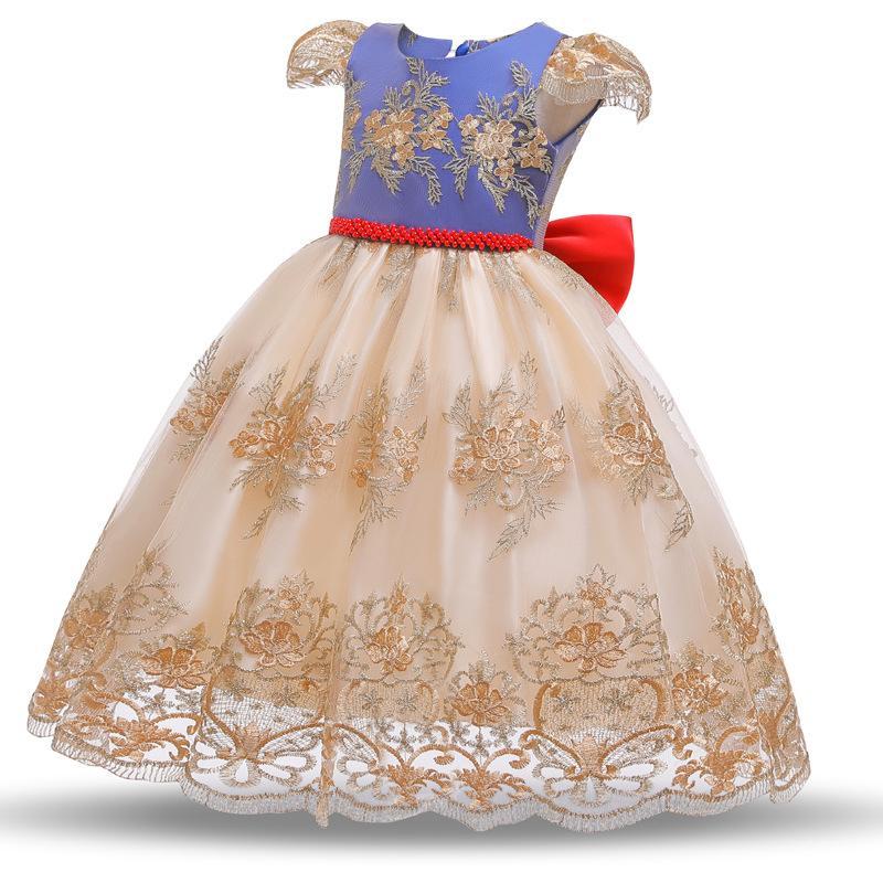 Muchachas de la princesa de los vestidos sin espalda 3 Diseño bordado de boda del vestido del tutú peform partido de las muchachas del vestido de la pajarita de la mancha del acoplamiento del cordón