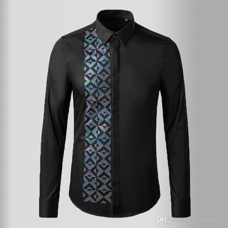 Новые черные белые мужские рубашки роскошные с длинным рукавом геометрические повседневные мужские рубашки высокого качества Slim Fit Мужские рубашки 3XL