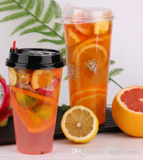 düz, meyve suyu kap, seçim için kapağın çeşitli tip 700 ml, Özel baskılı kap açık atılabilir plastik PP suyu bardağı kabarcık süt çay bardağı.