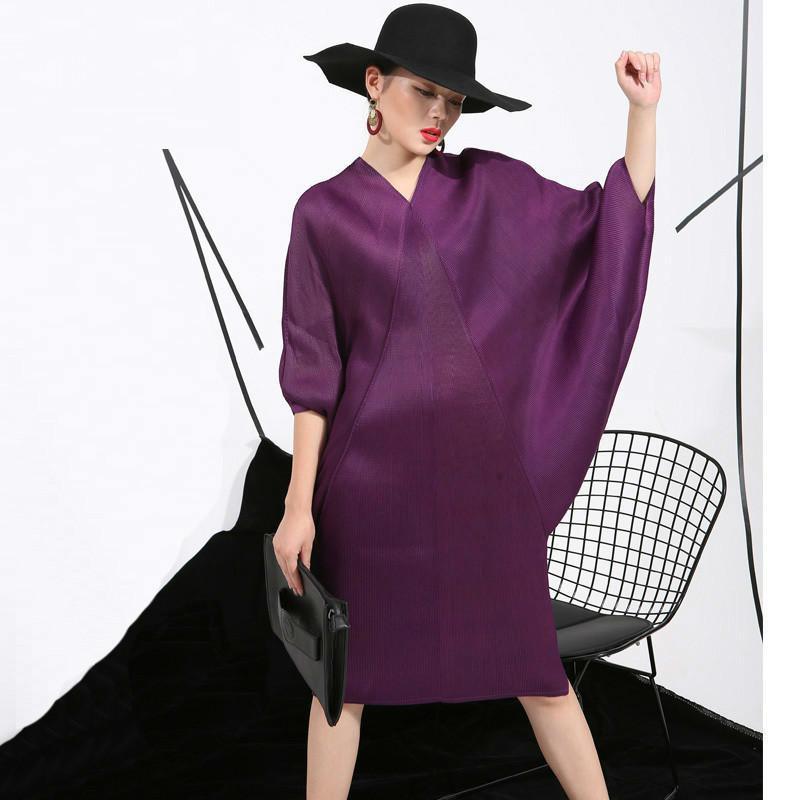 2020 새로운 크림프 여름 주름하시기 바랍니다 드레스 큰 사이즈의 여성 느슨한 얇은 박쥐 슬 리빙 중간 길이 드레스