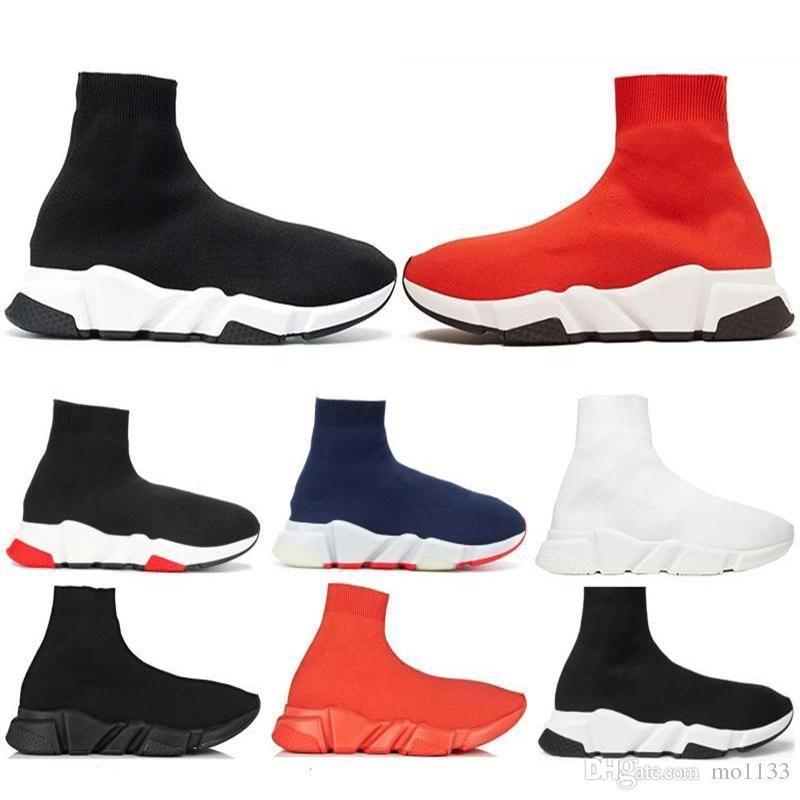 2019 diseñador Speed Trainer fashion Luxury hombres mujeres Calcetines Zapatos negro blanco azul oreo Flat para hombre zapatillas deportivas Runner tamaño 36-45