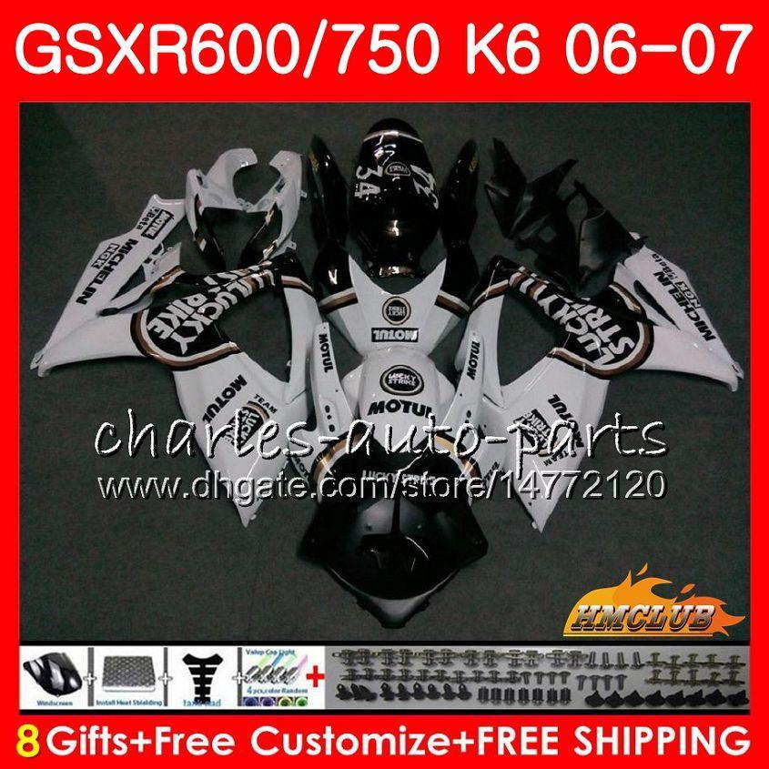 Kropp för Suzuki Lucky Black Hot GSX R600 GSX-R750 GSXR-600 GSXR600 06-07 8HC.74 GSX R750 GSXR 600 750 06 07 K6 GSXR750 2006 2007 FAIRING KIT