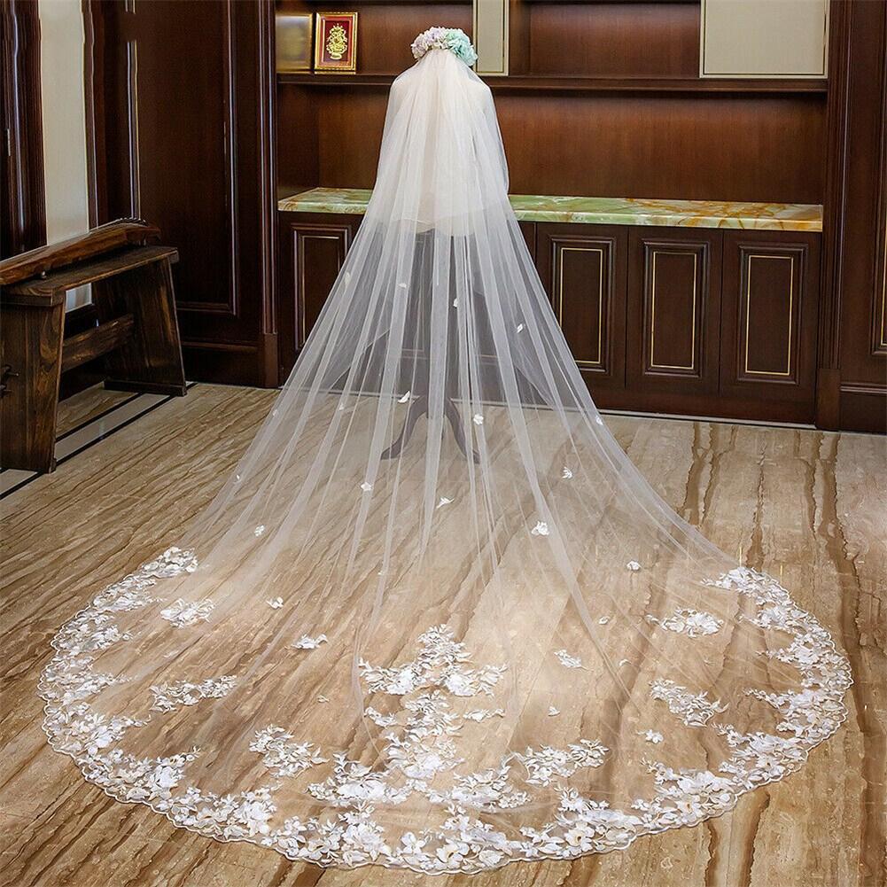 veli Nuovo Fard veli da sposa cattedrale nuziale del merletto di lunghezza di Applique bianco avorio 2T con il pettine
