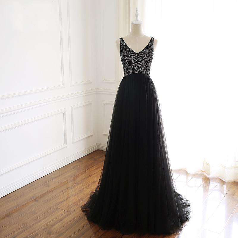 저렴한 브러쉬 기차 패턴 구슬 낮은 V 뒤로 검은 색 이브닝 가운 vestido 드 페스타 롱고에 대한 반짝 V - 목 - 라인 얇은 명주 그물 블랙 댄스 파티 드레스