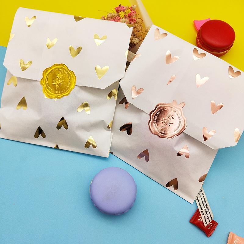 25pcs Kraft Sacs papier Traitez Candy Bag Sacs d'amour de Cupidon pour le mariage de fête d'anniversaire de Pâques Fête Favors Supplie Sac cadeau