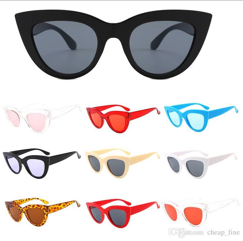 2019 mode sonnenbrillen frauen cat eye luxus designer vintage sonnenbrille farbe augenlinsen gläser lunette de soleil femme 2166 freies schiff