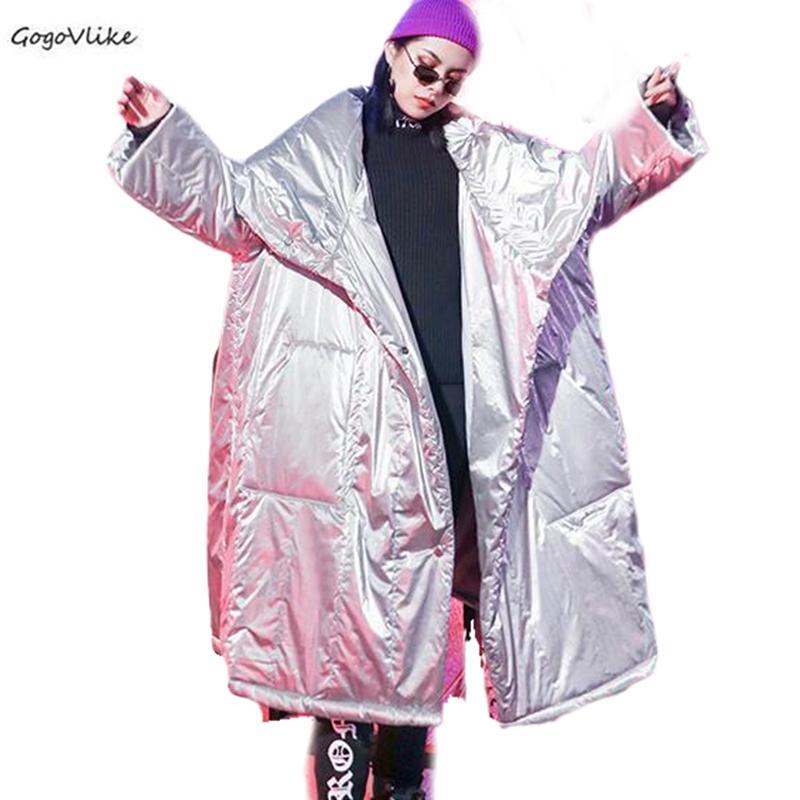 2019 Kış Pamuk Harajuku Gümüş Büyük Boy Gevşek Yastıklı Mont Uzun Kış Ceket Kadınlar Streetwear Coat Kadınlar SA017S30